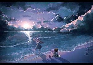Rating: Safe Score: 84 Tags: beach brown_hair clouds long_hair original purple_hair red_eyes sunset water wntame User: C4R10Z123GT