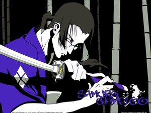 Rating: Safe Score: 19 Tags: all_male glasses japanese_clothes jin male polychromatic samurai_champloo signed sword weapon User: Oyashiro-sama