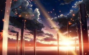 Rating: Safe Score: 153 Tags: clouds landscape leaves scenic sky sunset touhou tree water yasaka_kanako yuuki_tatsuya User: 秀悟