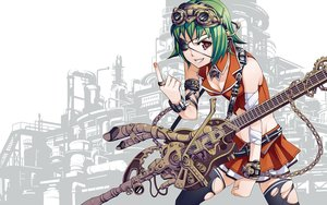 Rating: Safe Score: 139 Tags: bandage breasts brown_eyes chain cleavage eyepatch goggles green_hair guitar gumi headphones instrument jpeg_artifacts short_hair skirt thighhighs torigoe_takumi torn_clothes vocaloid white User: megaki11