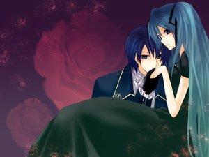 Rating: Safe Score: 32 Tags: aqua_hair blue_eyes blue_hair dress flowers hatsune_miku kaito long_hair male rose twintails vocaloid User: MarySan