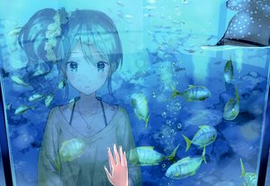 Rating: Safe Score: 58 Tags: aikatsu! animal blue blue_eyes blue_hair bubbles fish hiten_goane_ryu kiriya_aoi necklace ponytail reflection scan underwater water wristwear User: RyuZU