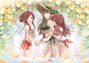 Rating: Safe Score: 50 Tags: bikini bow brown_eyes brown_hair chiri_(ch!) flowers hat hug idolmaster idolmaster_shiny_colors kuwayama_chiyuki long_hair oosaki_amana oosaki_tenka petals swimsuit twins water User: RyuZU