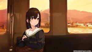 Rating: Safe Score: 49 Tags: brown_eyes brown_hair original scenic seifuku short_hair sunset train yuu_(higashi_no_penguin) User: otaku_emmy