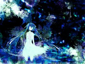 Rating: Safe Score: 44 Tags: dress hatsune_miku long_hair meola twintails vocaloid water User: opai