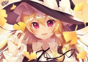 Rating: Safe Score: 55 Tags: autumn blonde_hair blush close fang hat kirisame_marisa leaves long_hair neno_(nenorium) purple_eyes ribbons signed touhou witch_hat User: otaku_emmy