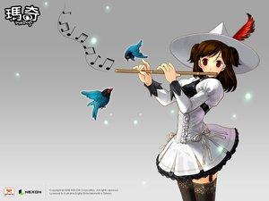 Rating: Safe Score: 22 Tags: animal bird brown_hair fantasy_life flute hat instrument mabinogi music red_eyes thighhighs User: Oyashiro-sama