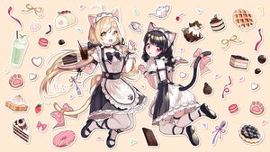 Rating: Safe Score: 61 Tags: 2girls aliasing animal_ears apron black_hair blonde_hair bow cake catgirl cat_smile cherry chocolate drink food fruit maid mechuragi original red_eyes strawberry tail thighhighs twintails waitress yellow_eyes User: sadodere-chan