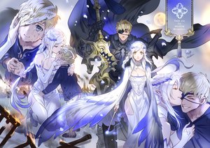 Rating: Safe Score: 31 Tags: aqua_eyes armor blonde_hair blush braids crying dress eyepatch foo_midori male original pointed_ears ponytail short_hair signed sword tears weapon white_hair yellow_eyes User: RyuZU