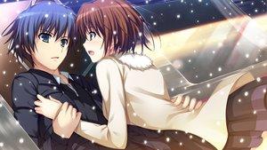 Rating: Safe Score: 54 Tags: blue_eyes blue_hair blush brown_hair dress game_cg koi_de_wa_naku makishima_yumi norifumi_(koi_de_wa_naku) short_hair snow tomose_shunsaku User: Katsumi