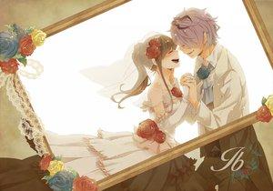 Rating: Safe Score: 69 Tags: blush brown_hair flowers gary_(ib) ib ib_(ib) purple_hair rose satsukizora wedding wedding_attire User: rlyeh