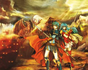Rating: Safe Score: 36 Tags: blue_eyes blue_hair cape clouds dragon eirika_(fire_embmlem) ephraim_(fire_embmlem) fire_emblem gloves nintendo sky spear sword weapon User: STORM