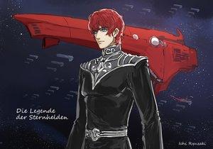 Rating: Safe Score: 7 Tags: airship all_male blue_eyes ginga_eiyuu_densetsu male red_hair ryuuzaki_ichi short_hair siegfried_kircheis space stars uniform watermark User: RyuZU