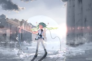 Rating: Safe Score: 30 Tags: boots building city clouds green_hair hebinui original red_eyes skirt sky twintails underwear upskirt User: STORM