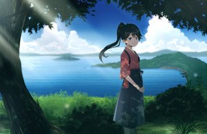 Rating: Safe Score: 77 Tags: anthropomorphism black_hair clouds grass houshou_(kancolle) japanese_clothes kantai_collection ohiya ponytail scenic skirt tree water User: Flandre93
