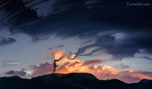 Rating: Safe Score: 98 Tags: clouds dark original scenic sunset watermark wenqing_yan_(yuumei_art) User: luckyluna