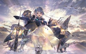 Rating: Safe Score: 108 Tags: aircraft aliasing anthropomorphism azur_lane breasts cape cleavage clouds dress elbow_gloves gloves gray_hair janyhero purple_eyes seattle_(azur_lane) see_through short_hair skirt_lift sky thighhighs upskirt water weapon User: BattlequeenYume