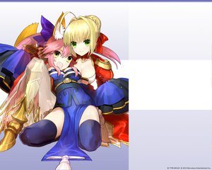 Rating: Safe Score: 59 Tags: 2girls blonde_hair boots caster dress fate/extra fate/stay_night foxgirl green_eyes japanese_clothes long_hair pink_hair saber saber_extra short_hair wada_rco yellow_eyes User: Tensa