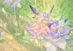 Rating: Safe Score: 125 Tags: aqua_eyes aqua_hair atdan barefoot blonde_hair breasts butterfly dress elbow_gloves fairy flowers forest gloves gray_hair haiyi hat honey leaves long_hair pink_eyes shian_(synthv) short_hair sideboob synthesizer_v tree twintails vocaloid wings wink xingchen yellow_eyes User: otaku_emmy
