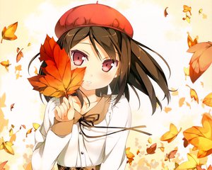 Rating: Safe Score: 258 Tags: 5_nenme_no_houkago blush brown_hair hat kantoku leaves original red_eyes shizuku_(kantoku) User: Wiresetc