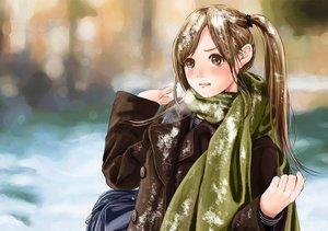 Rating: Safe Score: 111 Tags: blush brown_eyes brown_hair kinoebi long_hair original ponytail scarf snow tears User: FormX
