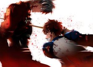 Rating: Safe Score: 32 Tags: all_male archer blood emiya_shirou fate_(series) fate/stay_night katana male sword weapon User: HawthorneKitty