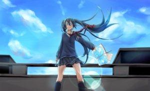 Rating: Safe Score: 100 Tags: book clouds fu-ta glasses hatsune_miku monochro_blue_sky_(vocaloid) school_uniform sky vocaloid User: FormX