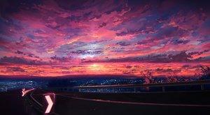 Rating: Safe Score: 83 Tags: building city clouds jpeg_artifacts knyt_(nanamzsk) original pink scenic sky stars sunset User: FormX