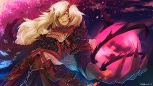 Rating: Safe Score: 41 Tags: all_male armor blonde_hair demon fang horns ibaraki_douji_(onmyouji) long_hair magic male onmyouji samurai signed tagme_(artist) User: otaku_emmy