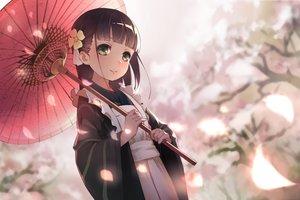 Rating: Safe Score: 160 Tags: brown_hair cherry_blossoms gochuumon_wa_usagi_desu_ka? green_eyes japanese_clothes kimono long_hair maid petals sanka! ujimatsu_chiya umbrella User: Flandre93