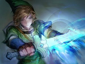 Rating: Safe Score: 12 Tags: all_male blonde_hair charcoalo close gloves gray_eyes hat link_(zelda) magic male pointed_ears short_hair sword the_legend_of_zelda weapon wink User: otaku_emmy