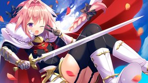 Rating: Safe Score: 33 Tags: all_male armor astolfo blush boots bow braids cape clouds elbow_gloves fang fate/apocrypha fate_(series) garter_belt gloves long_hair male petals pink_hair ponytail purple_eyes sky stockings sword thighhighs tougetsu_hajime trap weapon wink User: RyuZU
