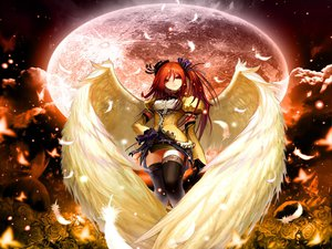 Rating: Safe Score: 70 Tags: feathers long_hair moon red_eyes red_hair ribbons wings User: mihaela94