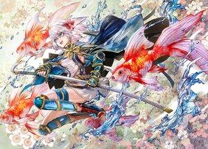 Rating: Safe Score: 57 Tags: animal blue_eyes cape fish flowers gray_hair katana kozou_(soumuden) original short_hair sword weapon User: RyuZU