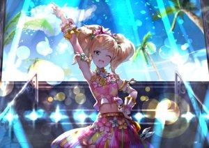 Rating: Safe Score: 58 Tags: aikatsu! blonde_hair blush clouds flowers green_eyes koruse long_hair navel nikaidou_yuzu sky tree twintails User: RyuZU