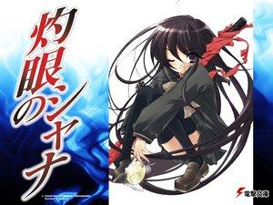 Rating: Safe Score: 16 Tags: black_hair itou_noiji long_hair school_uniform shakugan_no_shana shana sword thighhighs weapon wink User: oranganeh
