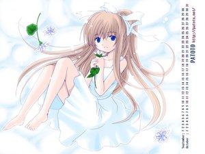 Rating: Safe Score: 22 Tags: air barefoot blue_eyes bow brown_hair calendar dress flowers jpeg_artifacts kamio_misuzu long_hair patoto ponytail summer_dress white User: Oyashiro-sama