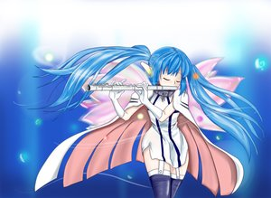 Rating: Safe Score: 24 Tags: blue_hair cape collar elbow_gloves flute gloves instrument long_hair minachu_t nymph sora_no_otoshimono thighhighs twintails wings User: Kumacuda