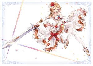 Rating: Safe Score: 36 Tags: blonde_hair bow breasts cleavage dress original petals red_eyes short_hair sword thighhighs weapon yashiron2011 User: otaku_emmy