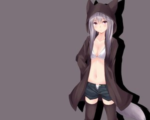 Rating: Safe Score: 241 Tags: animal_ears bikini cleavage foxgirl gray gray_hair original second_heaven swimsuit tail User: Wiresetc