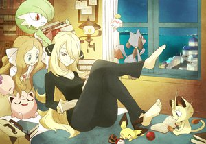 Rating: Safe Score: 144 Tags: 2girls barefoot bed book cattleya_(pokemon) gardevoir jigglypuff meowth munna pichu pokemon riolu shirona souji User: FormX