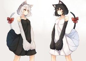 Rating: Safe Score: 199 Tags: 2girls animal_ears black_hair bow catgirl dress original plan_(planhaplalan) short_hair tail white white_hair User: Flandre93