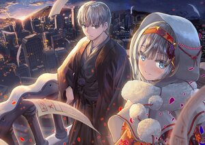 Rating: Safe Score: 23 Tags: blue_eyes blush building city clouds gray_eyes gray_hair hoodie japanese_clothes kimono male original sky stars sunset windfeathers User: Maboroshi