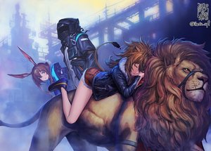 Rating: Safe Score: 62 Tags: 2girls amiya_(arknights) animal animal_ears arknights brown_hair building catgirl doctor_(arknights) green_eyes lion long_hair male mask ponytail shorts siege_(arknights) sleeping tagme_(artist) tail watermark User: BattlequeenYume