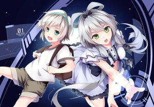 Rating: Safe Score: 92 Tags: 2girls blue_eyes bow dress ello-chan gray_hair green_eyes headband long_hair luo_tianyi short_hair shorts twintails vocaloid vocaloid_china yan_he User: Flandre93
