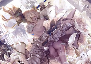 Rating: Questionable Score: 490 Tags: armor ass blonde_hair dress fate/stay_night flowers garter_belt geister long_hair panties ponytail ribbons saber saber_lily signed sword thighhighs underwear weapon User: Tensa