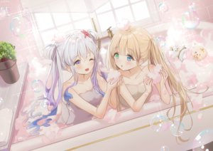 Rating: Safe Score: 51 Tags: 2girls bath bathtub bicolored_eyes blonde_hair bubbles gray_hair long_hair mullpull original signed towel twintails water wink yellow_eyes User: otaku_emmy