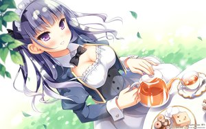 Rating: Safe Score: 181 Tags: blush bow breasts cleavage dress drink food headdress koi_suru_kanojo_no_bukiyou_na_butai kokonoe_maria leaves long_hair maid pan_(mimi) purple_eyes purple_hair User: Flandre93