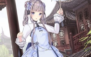 Rating: Safe Score: 94 Tags: apple228 blue_eyes blush bow brown_hair building chinese_clothes dress lolita_fashion long_hair original sketch twintails User: BattlequeenYume