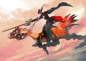 Rating: Safe Score: 39 Tags: all_male animal_ears boots catboy chocobo final_fantasy final_fantasy_xiv gloves gray_hair hat male miqo'te red_mage square_enix sword tagme_(artist) tail watermark weapon User: SciFi